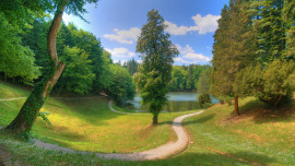 landscapes nature trees grass path lakes HD Wallpapers2
